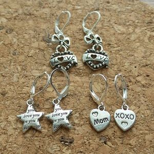 3 Pairs, Tibet Silver Lever Back Earrings